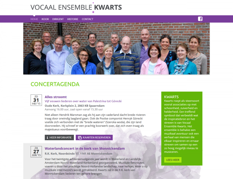 Website Vocaal Ensemble Kwarts