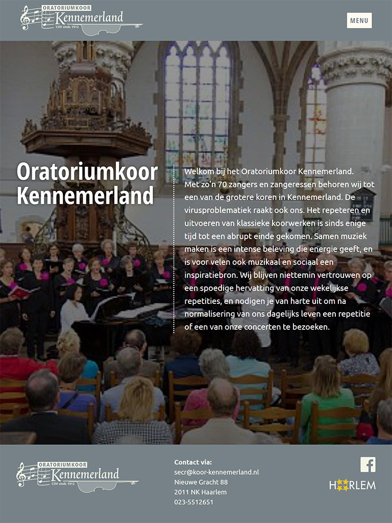 Website Oratoriumkoor Kennemerland